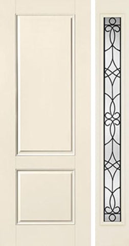 WDMA 44x96 Door (3ft8in by 8ft) Exterior Smooth 8ft 2 Panel Square Top Star Door 1 Side Salinas Full Lite Flush 1