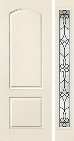 WDMA 44x96 Door (3ft8in by 8ft) Exterior Smooth 8ft 2 Panel Soft Arch Star Door 1 Side Salinas Full Lite Flush 1