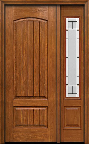 WDMA 44x96 Door (3ft8in by 8ft) Exterior Cherry 96in Plank Two Panel Single Entry Door Sidelight Topaz Glass 1