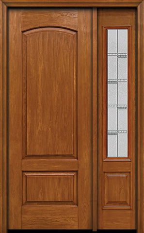 WDMA 44x96 Door (3ft8in by 8ft) Exterior Cherry 96in Two Panel Camber Single Entry Door Sidelight Crosswalk Glass 1