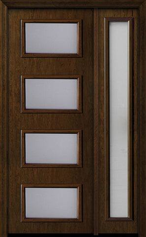WDMA 44x96 Door (3ft8in by 8ft) Exterior Cherry 96in Contemporary Four Lite Single Fiberglass Entry Door Sidelight 1