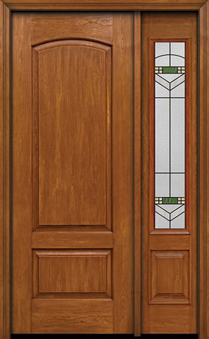 WDMA 44x96 Door (3ft8in by 8ft) Exterior Cherry 96in Two Panel Camber Single Entry Door Sidelight Greenfield Glass 1