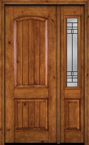 WDMA 44x96 Door (3ft8in by 8ft) Exterior Knotty Alder 96in Alder Rustic V-Grooved Panel Single Entry Door Sidelight Pembrook Glass 1