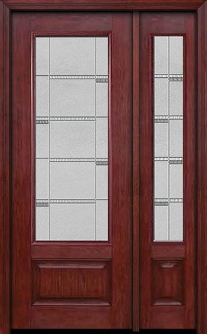 WDMA 44x96 Door (3ft8in by 8ft) Exterior Cherry 96in 3/4 Lite Single Entry Door Sidelight Crosswalk Glass 1