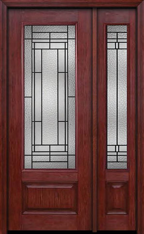WDMA 44x96 Door (3ft8in by 8ft) Exterior Cherry 96in 3/4 Lite Single Entry Door Sidelight Pembrook Glass 1