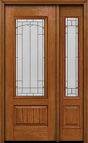 WDMA 44x96 Door (3ft8in by 8ft) Exterior Cherry 96in Plank Panel 3/4 Lite Single Entry Door Sidelight Topaz Glass 1