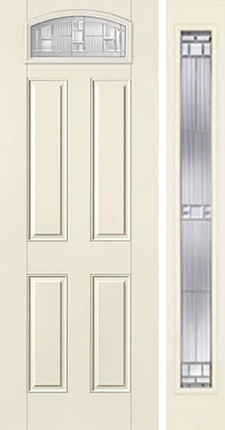 WDMA 44x96 Door (3ft8in by 8ft) Exterior Smooth SaratogaTM 8ft Camber Top Lite 4 Panel Star Door 1 Side 1