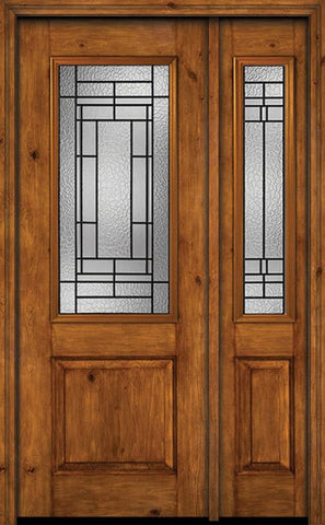 WDMA 44x96 Door (3ft8in by 8ft) Exterior Knotty Alder 96in Alder Rustic Plain Panel 2/3 Lite Single Entry Door Sidelight Pembrook Glass 1