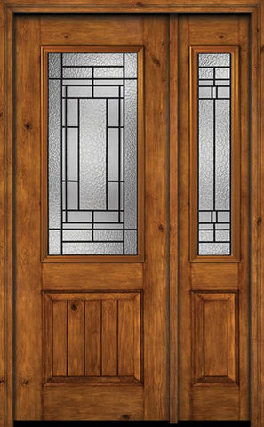 WDMA 44x96 Door (3ft8in by 8ft) Exterior Knotty Alder 96in Alder Rustic V-Grooved Panel 2/3 Lite Single Entry Door Sidelight Pembrook Glass 1