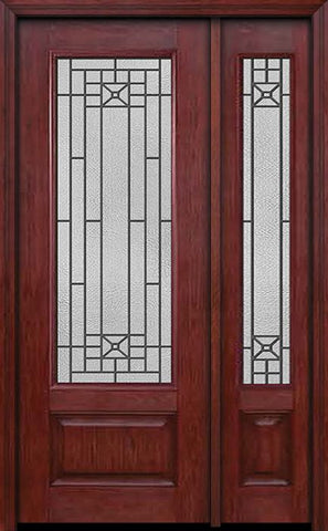 WDMA 44x96 Door (3ft8in by 8ft) Exterior Cherry 96in 3/4 Lite Single Entry Door Sidelight Courtyard Glass 1