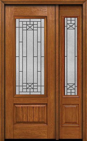 WDMA 44x96 Door (3ft8in by 8ft) Exterior Cherry 96in Plank Panel 3/4 Lite Single Entry Door Sidelight Courtyard Glass 1