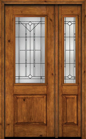 WDMA 44x96 Door (3ft8in by 8ft) Exterior Knotty Alder 96in Alder Rustic Plain Panel 2/3 Lite Single Entry Door Sidelight Riverwood Glass 1