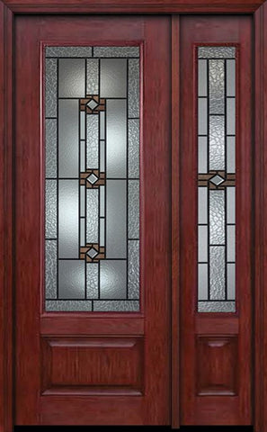 WDMA 44x96 Door (3ft8in by 8ft) Exterior Cherry 96in 3/4 Lite Single Entry Door Sidelight Mission Ridge Glass 1