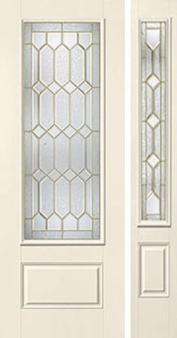 WDMA 44x96 Door (3ft8in by 8ft) Exterior Smooth Crystalline 8ft 3/4 Lite 1 Panel Star Door 1 Side 1