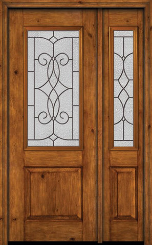 WDMA 44x96 Door (3ft8in by 8ft) Exterior Knotty Alder 96in Alder Rustic Plain Panel 2/3 Lite Single Entry Door Sidelight Ashbury Glass 1