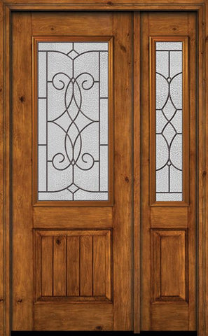 WDMA 44x96 Door (3ft8in by 8ft) Exterior Knotty Alder 96in Alder Rustic V-Grooved Panel 2/3 Lite Single Entry Door Sidelight Ashbury Glass 1