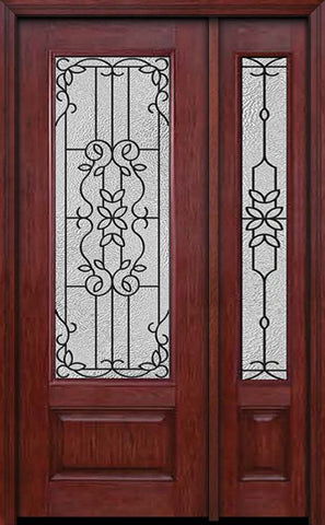 WDMA 44x96 Door (3ft8in by 8ft) Exterior Cherry 96in 3/4 Lite Single Entry Door Sidelight Mediterranean Glass 1