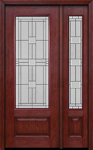 WDMA 44x96 Door (3ft8in by 8ft) Exterior Cherry 96in 3/4 Lite Single Entry Door Sidelight Monterey Glass 1