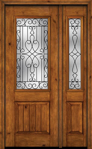 WDMA 44x96 Door (3ft8in by 8ft) Exterior Knotty Alder 96in Alder Rustic V-Grooved Panel 2/3 Lite Single Entry Door Sidelight Wyngate Glass 1
