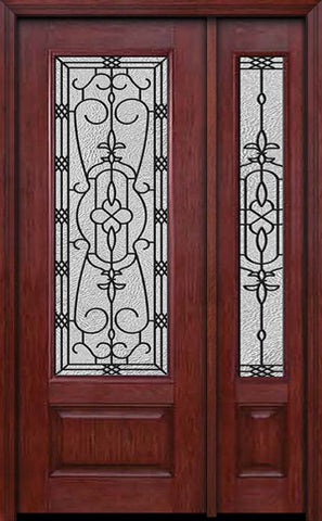 WDMA 44x96 Door (3ft8in by 8ft) Exterior Cherry 96in 3/4 Lite Single Entry Door Sidelight Jacinto Glass 1