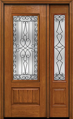 WDMA 44x96 Door (3ft8in by 8ft) Exterior Cherry 96in Plank Panel 3/4 Lite Single Entry Door Sidelight Wyngate Glass 1