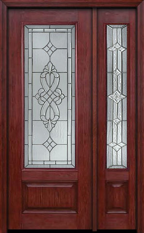 WDMA 44x96 Door (3ft8in by 8ft) Exterior Cherry 96in 3/4 Lite Single Entry Door Sidelight Windsor Glass 1