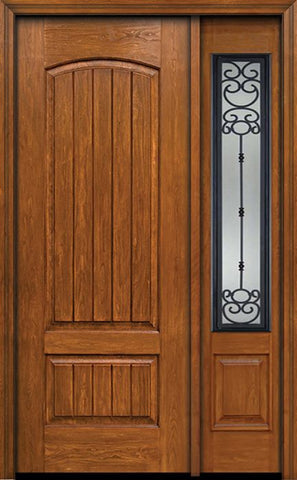 WDMA 44x96 Door (3ft8in by 8ft) Exterior Cherry 96in Plank Two Panel Single Entry Door Sidelight Belle Meade Glass 1