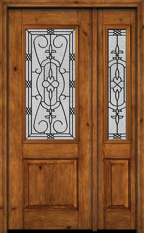 WDMA 44x96 Door (3ft8in by 8ft) Exterior Knotty Alder 96in Alder Rustic Plain Panel 2/3 Lite Single Entry Door Sidelight Jacinto Glass 1