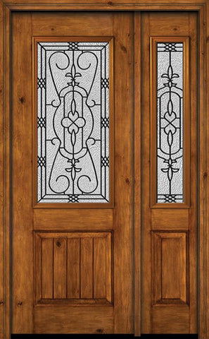 WDMA 44x96 Door (3ft8in by 8ft) Exterior Knotty Alder 96in Alder Rustic V-Grooved Panel 2/3 Lite Single Entry Door Sidelight Jacinto Glass 1
