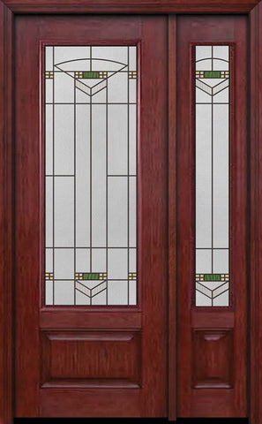 WDMA 44x96 Door (3ft8in by 8ft) Exterior Cherry 96in 3/4 Lite Single Entry Door Sidelight Greenfield Glass 1