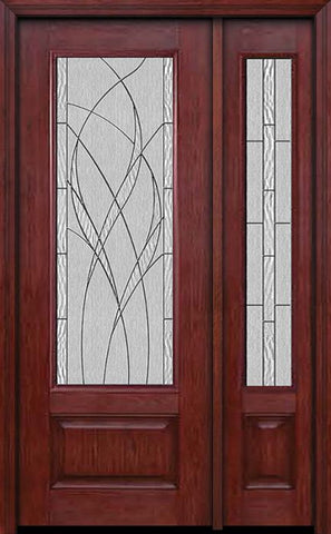 WDMA 44x96 Door (3ft8in by 8ft) Exterior Cherry 96in 3/4 Lite Single Entry Door Sidelight Waterside Glass 1