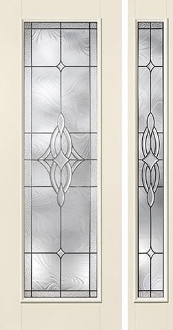 WDMA 44x96 Door (3ft8in by 8ft) Exterior Smooth Wellesley Full Lite 8ft Flush Star Door 1 Side Sidelight W/ Stile Lines 1