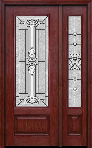 WDMA 44x96 Door (3ft8in by 8ft) Exterior Cherry 96in 3/4 Lite Single Entry Door Sidelight Cadence Glass 1
