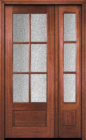 WDMA 44x96 Door (3ft8in by 8ft) Patio Mahogany 96in 6 Lite TDL DoorCraft Door /1side w/Textured Glass 1