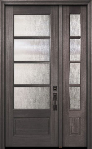 WDMA 44x96 Door (3ft8in by 8ft) Exterior Mahogany 96in 3/4 Lite 4 Lite Horizontal SDL DoorCraft Door /1side 1