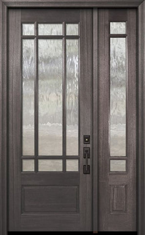 WDMA 44x96 Door (3ft8in by 8ft) Exterior Mahogany 96in 3/4 Lite Marginal 9 Lite SDL DoorCraft Door /1side 1