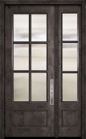 WDMA 44x96 Door (3ft8in by 8ft) Exterior Knotty Alder 96in 3/4 Lite 6 Lite SDL Estancia Alder Door /1side 1