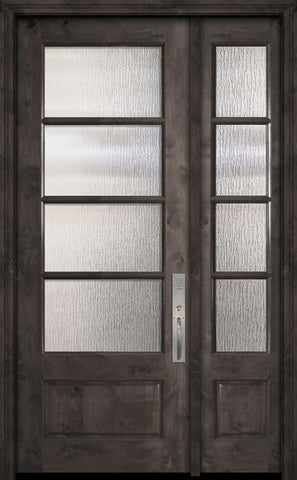 WDMA 44x96 Door (3ft8in by 8ft) Exterior Knotty Alder 96in 3/4 Lite 4 Lite Horizontal SDL Estancia Alder Door /1side 1