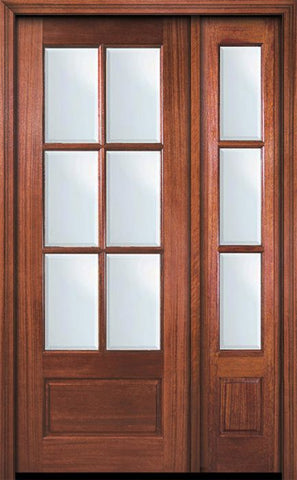 WDMA 44x96 Door (3ft8in by 8ft) Patio Mahogany 96in 6 Lite TDL DoorCraft Door /1side w/Bevel IG 1