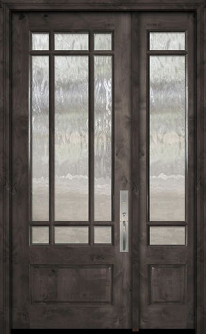 WDMA 44x96 Door (3ft8in by 8ft) Exterior Knotty Alder 96in 3/4 Lite Marginal 9 Lite SDL Estancia Alder Door /1side 1