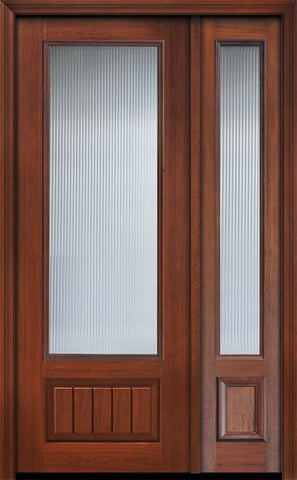 WDMA 44x96 Door (3ft8in by 8ft) Patio Cherry IMPACT | 96in 3/4 Lite Privacy Glass V-Grooved Panel Door /1side 1