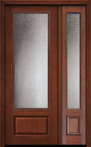 WDMA 44x96 Door (3ft8in by 8ft) Exterior Cherry IMPACT | 96in 3/4 Lite Privacy Glass Door /1side 1