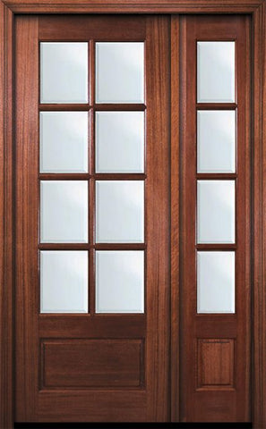 WDMA 44x96 Door (3ft8in by 8ft) Exterior Mahogany 96in 8 Lite TDL DoorCraft Door /1side w/Bevel IG 1