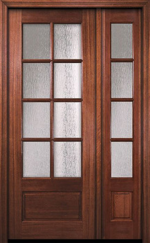 WDMA 44x96 Door (3ft8in by 8ft) French Mahogany 96in 8 Lite TDL DoorCraft Door /1side w/Textured Glass 1