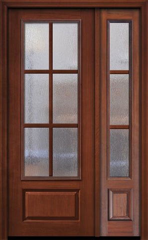 WDMA 44x96 Door (3ft8in by 8ft) Patio Cherry IMPACT | 96in 3/4 Lite 1 Panel 6 Lite SDL Door /1side 1