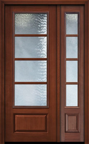 WDMA 44x96 Door (3ft8in by 8ft) Exterior Cherry IMPACT | 96in 3/4 Lite 1 Panel 4 Lite SDL Door /1side 1