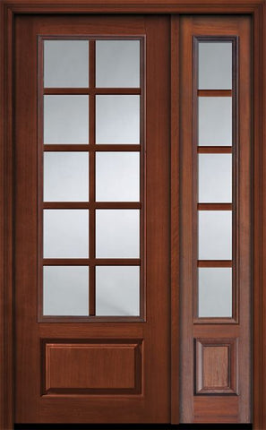 WDMA 44x96 Door (3ft8in by 8ft) Exterior Cherry IMPACT | 96in 3/4 Lite 1 Panel 10 Lite SDL Door /1side 1