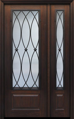 WDMA 44x96 Door (3ft8in by 8ft) Exterior Cherry IMPACT | 96in 1 Panel 3/4 Lite La Salle Door /1side 1