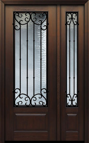 WDMA 44x96 Door (3ft8in by 8ft) Exterior Cherry IMPACT | 96in 1 Panel 3/4 Lite Valencia Door /1side 1