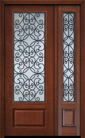 WDMA 44x96 Door (3ft8in by 8ft) Exterior Cherry 96in 1 Panel 3/4 Lite Florence / Walnut Door /1side 1
